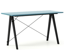 Biurko SLIM kolor OCEANIC stelaż BUK BLACK  Minimalistyczne biurko w formie stolika z wygodną nadstawką na drobiazgi. Wykonane ręcznie z litego drewna i...