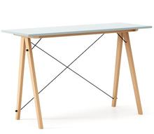 Biurko SLIM kolor ICE BLUE stelaż BUK (standard)  Minimalistyczne biurko w formie stolika z wygodną nadstawką na drobiazgi. Wykonane ręcznie z litego...