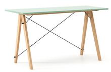 Biurko SLIM kolor MINT stelaż BUK (standard)  Minimalistyczne biurko w formie stolika z wygodną nadstawką na drobiazgi. Wykonane ręcznie z litego drewna...