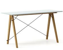 Biurko SLIM kolor ICE BLUE stelaż DĄB  Minimalistyczne biurko w formie stolika z wygodną nadstawką na drobiazgi. Wykonane ręcznie z litego drewna i...