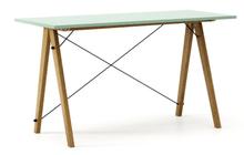 Biurko SLIM kolor MINT stelaż DĄB  Minimalistyczne biurko w formie stolika z wygodną nadstawką na drobiazgi. Wykonane ręcznie z litego drewna i blatu w...