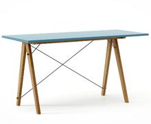 Biurko SLIM kolor OCEANIC stelaż DĄB  Minimalistyczne biurko w formie stolika z wygodną nadstawką na drobiazgi. Wykonane ręcznie z litego drewna i...