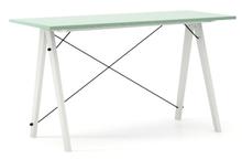 Biurko SLIM kolor MINT stelaż BUK WHITE  Minimalistyczne biurko w formie stolika z wygodną nadstawką na drobiazgi. Wykonane ręcznie z litego drewna i...