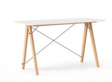 Biurko SLIM kolor WHITE stelaż BUK (standard)  Minimalistyczne biurko w formie stolika z wygodną nadstawką na drobiazgi. Wykonane ręcznie z litego...