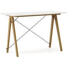 Biurko SLIM kolor WHITE stelaż DĄB  Minimalistyczne biurko w formie stolika z wygodną nadstawką na drobiazgi. Wykonane ręcznie z litego drewna i blatu...