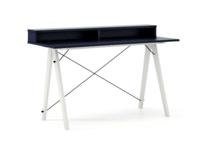 Biurko SLIM+ kolor NAVY stelaż BUK WHITE  Minimalistyczne biurko w formie stolika z wygodną nadstawką na drobiazgi. Wykonane ręcznie z litego drewna i...