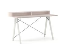 Biurko SLIM+ kolor DUSTY PINK stelaż BUK WHITE  Minimalistyczne biurko w formie stolika z wygodną nadstawką na drobiazgi. Wykonane ręcznie z litego...