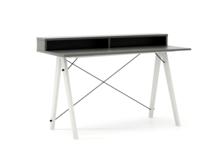 Biurko SLIM+ kolor GREY stelaż BUK WHITE  Minimalistyczne biurko w formie stolika z wygodną nadstawką na drobiazgi. Wykonane ręcznie z litego drewna i...