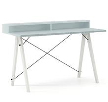 Biurko SLIM+ kolor ICE BLUE stelaż BUK WHITE  Minimalistyczne biurko w formie stolika z wygodną nadstawką na drobiazgi. Wykonane ręcznie z litego drewna...