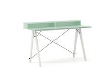 Biurko SLIM+ kolor MINT stelaż BUK WHITE  Minimalistyczne biurko w formie stolika z wygodną nadstawką na drobiazgi. Wykonane ręcznie z litego drewna i...