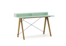 Biurko SLIM+ kolor MINT stelaż DĄB  Minimalistyczne biurko w formie stolika z wygodną nadstawką na drobiazgi. Wykonane ręcznie z litego drewna i blatu...