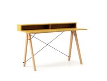 Biurko SLIM+ kolor LIGHT MUSTARD stelaż BUK (standard)  Minimalistyczne biurko w formie stolika z wygodną nadstawką na drobiazgi. Wykonane ręcznie z...