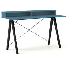 Biurko SLIM+ kolor OCEANIC stelaż BUK BLACK  Minimalistyczne biurko w formie stolika z wygodną nadstawką na drobiazgi. Wykonane ręcznie z litego drewna...