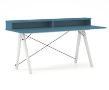 Biurko SLIM+ kolor OCEANIC stelaż BUK WHITE  Minimalistyczne biurko w formie stolika z wygodną nadstawką na drobiazgi. Wykonane ręcznie z litego drewna...