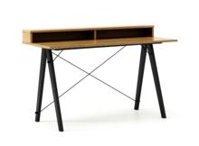 Biurko SLIM+ kolor RAW OAK stelaż BUK BLACK  Minimalistyczne biurko w formie stolika z wygodną nadstawką na drobiazgi. Wykonane ręcznie z litego drewna...