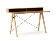 Minimalistyczne biurko w formie stolika z wygodną nadstawką na drobiazgi. Dopasuj wymiary do swoich potrzeb! Wykonane ręcznie z litego drewna i blatu w...