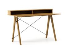 Biurko SLIM+ kolor RAW OAK stelaż DĄB  Minimalistyczne biurko w formie stolika z wygodną nadstawką na drobiazgi. Wykonane ręcznie z litego drewna i...