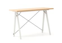 Biurko SLIM WOODIE blat BUK stelaż BUK WHITE  Minimalistyczne biurko w formie stolika z wygodną nadstawką na drobiazgi. Wykonane ręcznie z litego drewna...