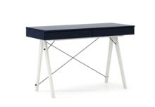 Biurko BASIC KIDS kolor NAVY stelaż BUK WHITE  Minimalistyczne biurko z dwoma szufladami i wygodną nadstawką na drobiazgi. Wykonane ręcznie z...
