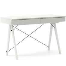 Biurko BASIC KIDS kolor LIGHT GREY stelaż BUK WHITE  Minimalistyczne biurko z dwoma szufladami i wygodną nadstawką na drobiazgi. Wykonane ręcznie z...