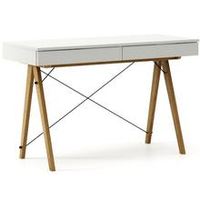 Biurko BASIC KIDS kolor LIGHT GREY stelaż DĄB  Minimalistyczne biurko z dwoma szufladami i wygodną nadstawką na drobiazgi. Wykonane ręcznie z litego...