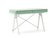 Biurko BASIC KIDS kolor MINT stelaż BUK WHITE  Minimalistyczne biurko z dwoma szufladami i wygodną nadstawką na drobiazgi. Wykonane ręcznie z litego...