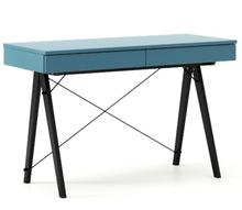 Biurko BASIC KIDS kolor OCEANIC stelaż BUK BLACK  Minimalistyczne biurko z dwoma szufladami i wygodną nadstawką na drobiazgi. Wykonane ręcznie z litego...