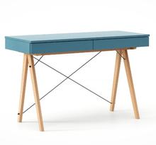 Biurko BASIC KIDS kolor OCEANIC stelaż BUK (standard)  Minimalistyczne biurko z dwoma szufladami i wygodną nadstawką na drobiazgi. Wykonane ręcznie z...