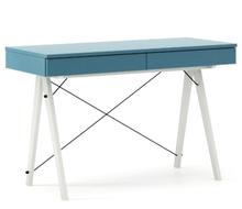Biurko BASIC KIDS kolor OCEANIC stelaż BUK WHITE  Minimalistyczne biurko z dwoma szufladami i wygodną nadstawką na drobiazgi. Wykonane ręcznie z litego...
