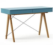 Biurko BASIC KIDS kolor OCEANIC stelaż DĄB  Minimalistyczne biurko z dwoma szufladami i wygodną nadstawką na drobiazgi. Wykonane ręcznie z litego...