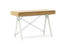 Biurko BASIC KIDS kolor RAW OAK stelaż BUK WHITE  Minimalistyczne biurko z dwoma szufladami i wygodną nadstawką na drobiazgi. Wykonane ręcznie z litego...