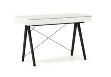 Biurko BASIC KIDS kolor WHITE stelaż BUK BLACK  Minimalistyczne biurko z dwoma szufladami i wygodną nadstawką na drobiazgi. Wykonane ręcznie z litego...