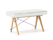 Biurko BASIC KIDS kolor WHITE stelaż BUK (standard)  Minimalistyczne biurko z dwoma szufladami i wygodną nadstawką na drobiazgi. Wykonane ręcznie z...