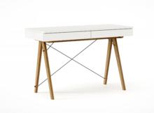 Biurko BASIC KIDS kolor WHITE stelaż DĄB  Minimalistyczne biurko z dwoma szufladami i wygodną nadstawką na drobiazgi. Wykonane ręcznie z litego drewna...