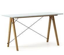 Biurko SLIM KIDS kolor ICE BLUE stelaż DĄB  Minimalistyczne biurko w formie stolika z wygodną nadstawką na drobiazgi. Wykonane ręcznie z litego drewna...