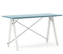 Biurko SLIM KIDS kolor OCEANIC stelaż BUK WHITE  Minimalistyczne biurko w formie stolika z wygodną nadstawką na drobiazgi. Wykonane ręcznie z litego...