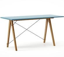 Biurko SLIM KIDS kolor OCEANIC stelaż DĄB  Minimalistyczne biurko w formie stolika z wygodną nadstawką na drobiazgi. Wykonane ręcznie z litego drewna i...