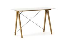 Biurko SLIM KIDS kolor WHITE stelaż DĄB  Minimalistyczne biurko w formie stolika z wygodną nadstawką na drobiazgi. Wykonane ręcznie z litego drewna i...