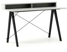 Biurko SLIM KIDS+ kolor LIGHT GREY stelaż BUK BLACK  Minimalistyczne biurko w formie stolika z wygodną nadstawką na drobiazgi. Wykonane ręcznie z litego...