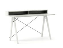 Biurko SLIM KIDS+ kolor LIGHT GREY stelaż BUK WHITE  Minimalistyczne biurko w formie stolika z wygodną nadstawką na drobiazgi. Wykonane ręcznie z litego...