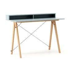 Biurko SLIM KIDS+ kolor ICE BLUE stelaż BUK (standard)  Minimalistyczne biurko w formie stolika z wygodną nadstawką na drobiazgi. Wykonane ręcznie z...