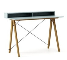 Biurko SLIM KIDS+ kolor ICE BLUE stelaż DĄB  Minimalistyczne biurko w formie stolika z wygodną nadstawką na drobiazgi. Wykonane ręcznie z litego drewna...