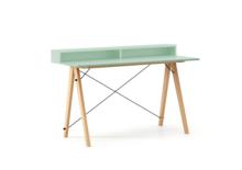 Biurko SLIM KIDS+ kolor MINT stelaż BUK (standard)  Minimalistyczne biurko w formie stolika z wygodną nadstawką na drobiazgi. Wykonane ręcznie z litego...