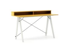 Biurko SLIM KIDS+ kolor LIGHT MUSTARD stelaż BUK WHITE  Minimalistyczne biurko w formie stolika z wygodną nadstawką na drobiazgi. Wykonane ręcznie z...