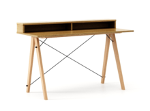 Biurko SLIM KIDS+ kolor RAW OAK stelaż BUK (standard)  Minimalistyczne biurko w formie stolika z wygodną nadstawką na drobiazgi. Wykonane ręcznie z...