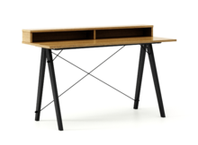 Biurko SLIM KIDS+ kolor RAW OAK stelaż BUK BLACK  Minimalistyczne biurko w formie stolika z wygodną nadstawką na drobiazgi. Wykonane ręcznie z litego...