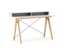 Biurko SLIM KIDS+ kolor WHITE stelaż BUK (standard)  Minimalistyczne biurko w formie stolika z wygodną nadstawką na drobiazgi. Wykonane ręcznie z litego...