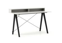 Biurko SLIM KIDS+ kolor WHITE stelaż BUK BLACK  Minimalistyczne biurko w formie stolika z wygodną nadstawką na drobiazgi. Wykonane ręcznie z litego...