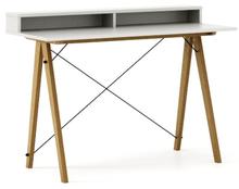 Biurko SLIM KIDS+ kolor WHITE stelaż DĄB  Minimalistyczne biurko w formie stolika z wygodną nadstawką na drobiazgi. Wykonane ręcznie z litego drewna i...