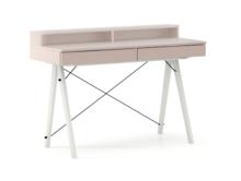 Biurko BASIC KIDS+ kolor DUSTY PINK stelaż BUK WHITE  Minimalistyczne biurko z dwoma szufladami i wygodną nadstawką na drobiazgi. Wykonane ręcznie...